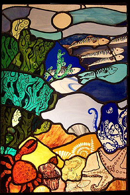 Fishies Stained Glass Window