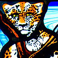 Leopard Stained Glass Panel