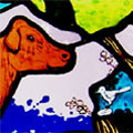 Rachael's Cow Stained Glass Window
